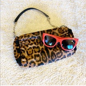 Dolce and Gabbana Leopard Clutch w/removable chain